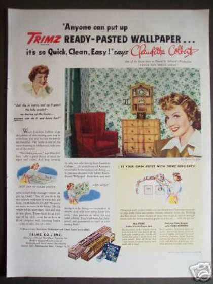 Claudette Colbert Ready Pasted Wallpaper Decor (1944)
