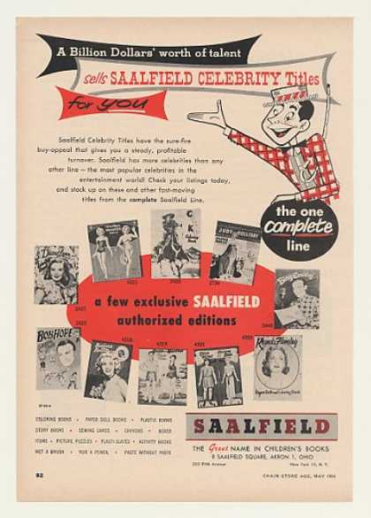 Saalfield Celebrity Books Paper Dolls Trade (1954)