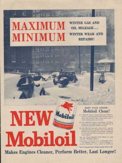 Maximum Minimum New Mobiloil for Cars (1946)