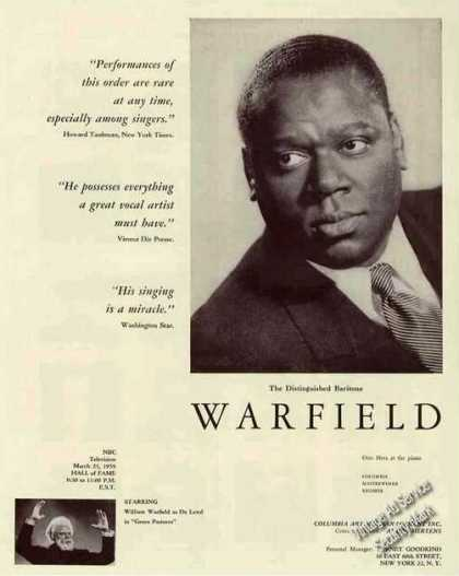 William Warfield Photo Baritone Booking (1959)