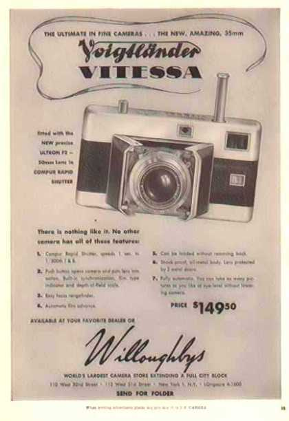 Vitessa – 50mm Ultron F2 / Willoughbys Camera Store (1950)