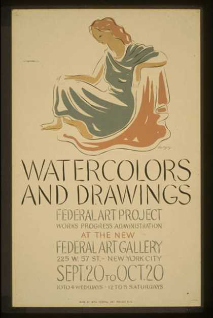 Watercolors and drawings, Federal Art Project, Works Progress Administration, at the new Federal Art Gallery / herzog. (1936)