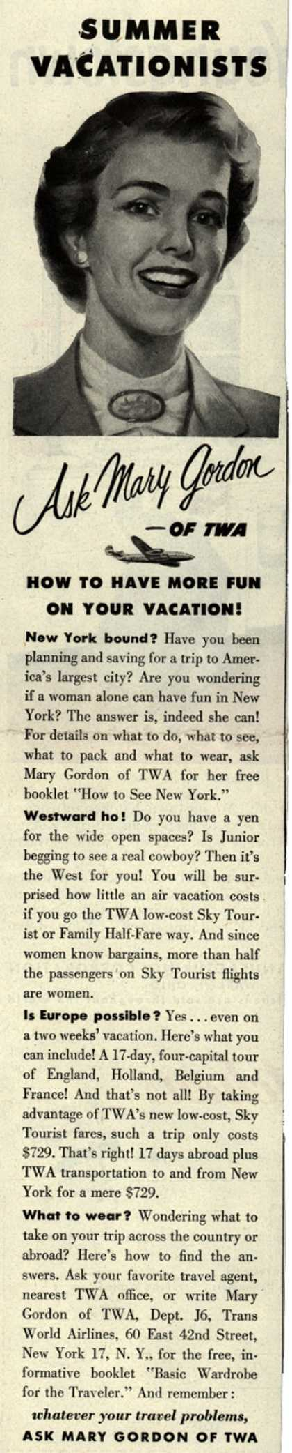 Trans World Airline's Mary Gordon – Summer Vacationists Ask Mary Gordon of TWA How To Have More Fun On Your Vacation (1952)