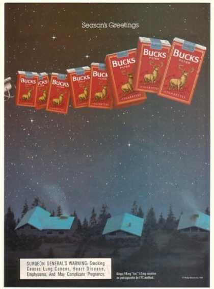 Bucks Cigarette Packs Christmas Sleigh Holiday (1991)