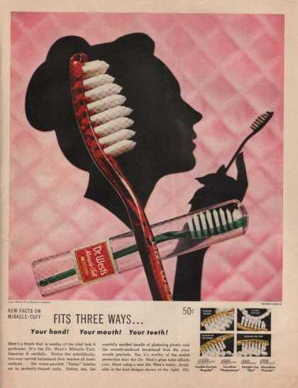 Dr West Toothbrush Fits Three Ways (1949)