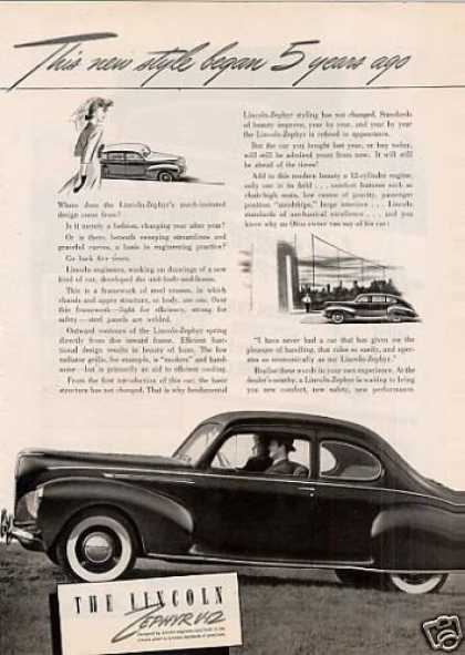 "Lincoln Zephyr V-12 Car Ad ""This New Style... (1940)"