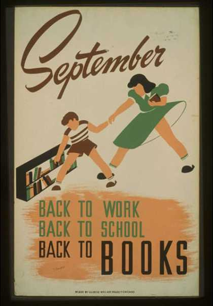 September – back to work – back to school – back to BOOKS / V. Donaghue (1940)