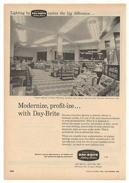 '56 Petty's Pharmacy Montclair NJ Day-Brite Lighting (1956)