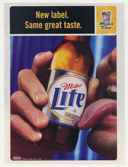 Miller Lite Beer New Label Man Licking Bottle (1998)