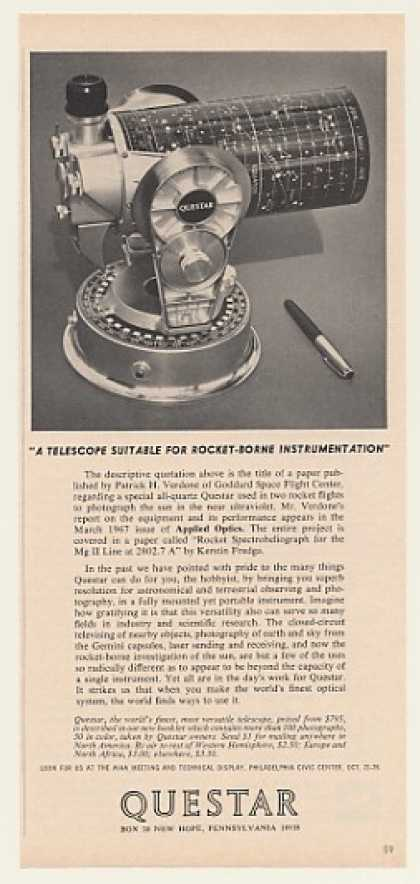 Questar Telescope Rocket-Borne Instrumentation (1968)