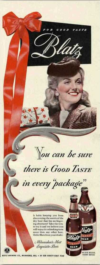 Blatz Beer You Can Be Sure There Is Good Taste (1942)