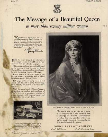 Pond's Extract Co.'s Pond's Cold Cream and Vanishing Cream – The Message of a Beautiful Queen (1925)