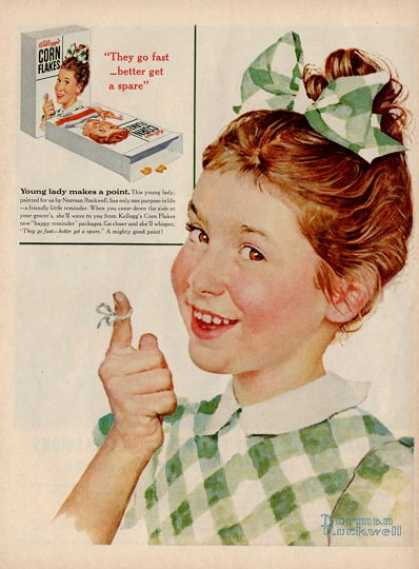 '55 Corn Flakes Kitchen Decor Girl Norman Rockwell Ad T (1955)