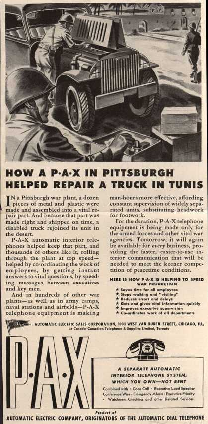Automatic Electric Sales Corporation's Interior Telephones – How a P-A-X in Pittsburgh Helped Repair a Truck in Tunis (1943)