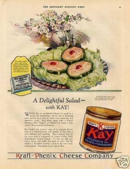 "Kraft Kay Cheese Color Ad ""A Delightful Salad... (1928)"