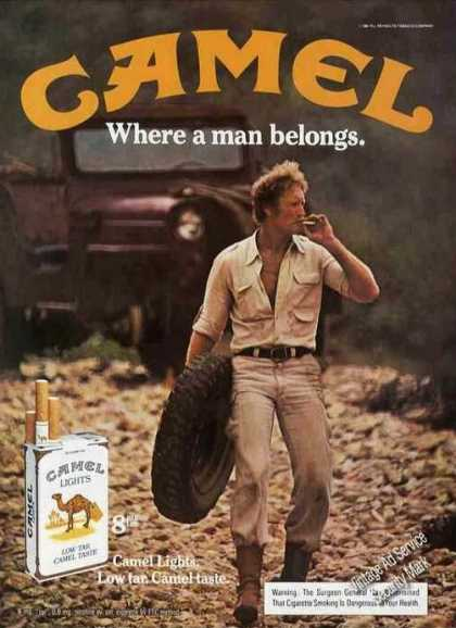 Camel Cigarettes Man Carrying Spare Tire (1983)