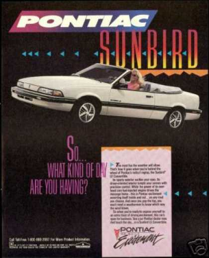 Pontiac Sunbird Le Convertible Vintage Photo (1990)