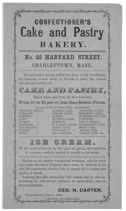 Confectioner&#8217;s cake and pastry bakery ... Geo. H. Carter. Charlestown, June 1, 1859. C. Rand &amp; Co. Prs. 48 Main Street. (1859)