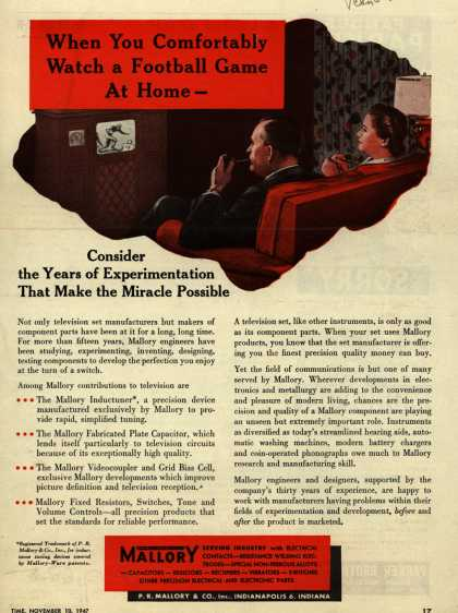Mallory's Television – When you Comfortably Watch a Football Game At Home... Consider the Years of Experimentation That Make the Miracle Possible (1947)
