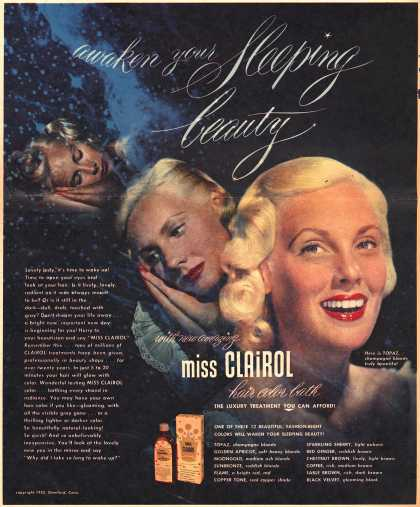 Clairol Incorporated's Miss Clairol – Awaken you Sleeping beauty with new amazing Miss Clairol (1952)