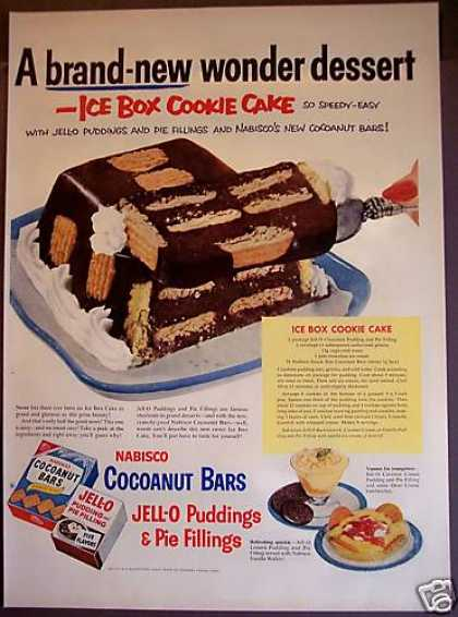 Ice Box Cookie Cake Recipe Jell-o Nabisco (1953)