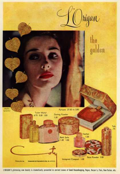 Coty's L'Origan Cosmetics – L'Origan the golden (1950)
