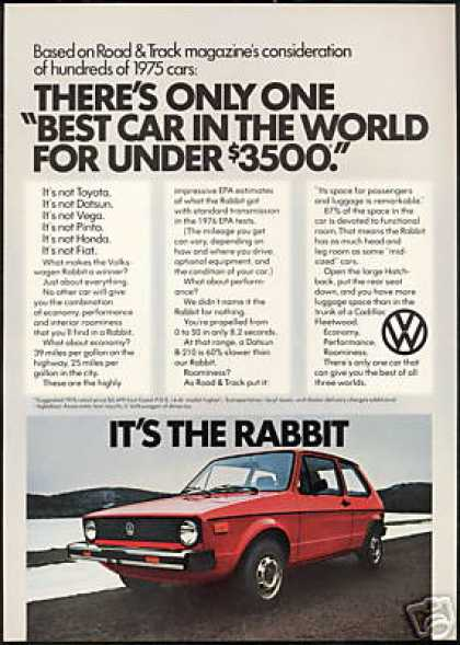 VW Volkswagen Rabbit Vintage Photo Print Car (1976)
