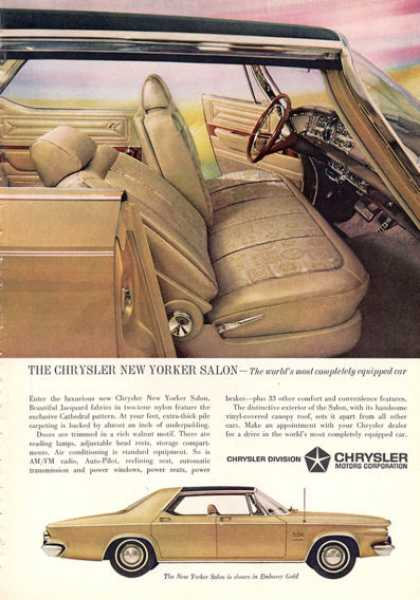 Vintage car advertisements of the 1960s page 98 for 1963 chrysler new yorker salon