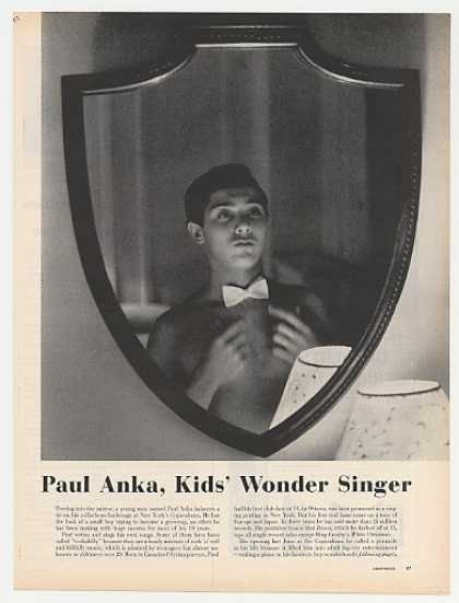 Paul Anka Kids Wonder Singer 3-Page Photo Article (1960)