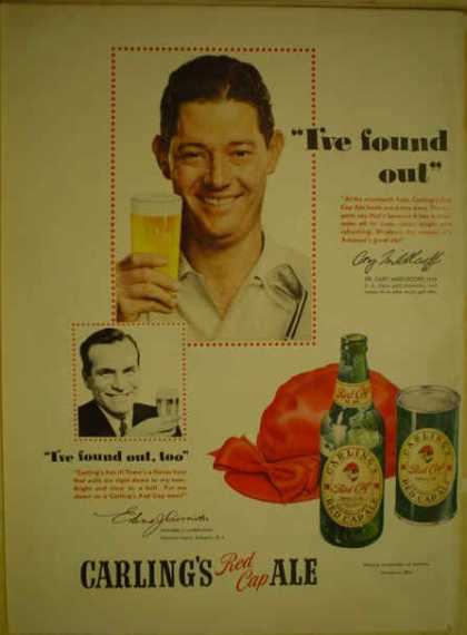 Carling's Red Cape Ale Beer Cary Middlecoff Golf Champ (1950)