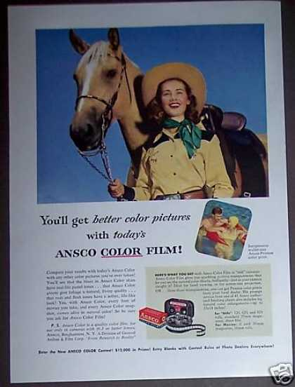 Cowgirl Woman and Horse Photo Ansco Film (1953)