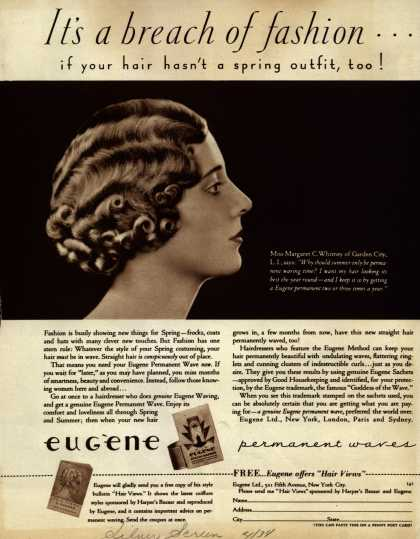 Eugene Ltd.'s Eugene permanent waves – It's a breach of fashion... (1934)