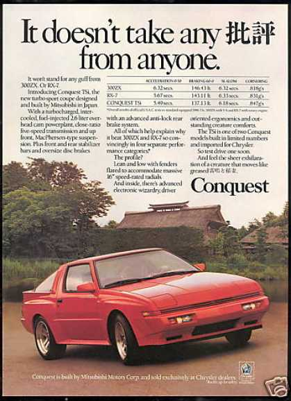 Chrysler Conquest TSI Car Vintage Print Car (1987)