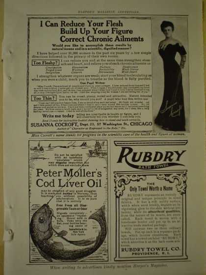 Rubdry bath towel AND Peter Moller's Cod Liver Oil (1909)