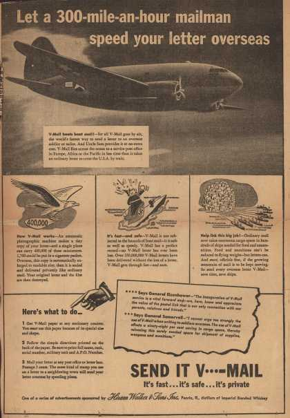 Hiram Walker & Son's V-Mail – Let a 300-mile-an-hour mailman speed your letter overseas (1944)
