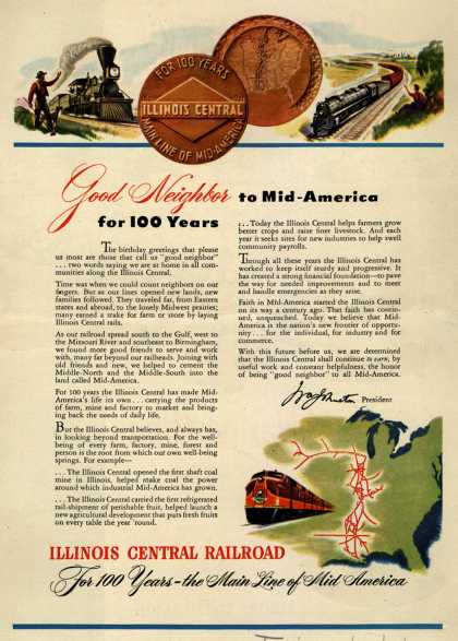 Illinois Central Railroad – Good Neighbor to Mid-America for 100 Years (1951)