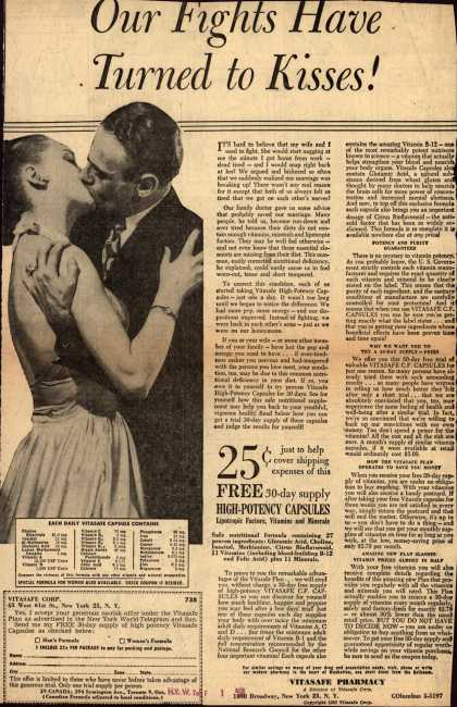 Vitasafe Corporation's Vitasafe C. F. Capsules – Our Fights Have Turned to Kisses (1958)