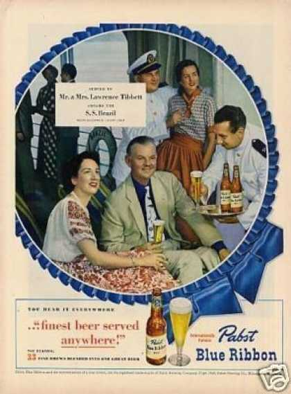 Pabst Blue Ribbon Beer Ad Mr. & Mrs. L. Tibbett (1949)