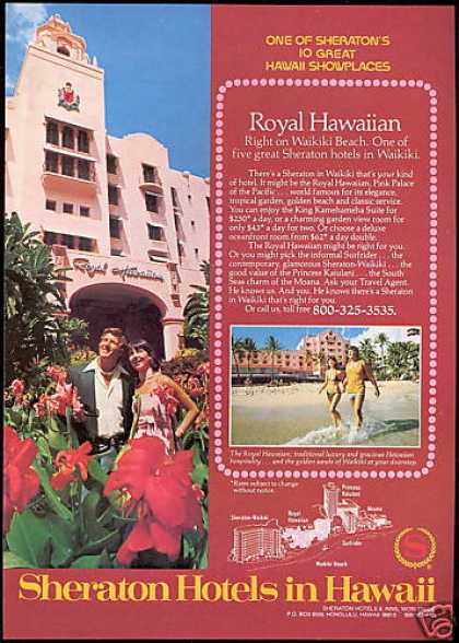 Sheraton Hotels Hawaii Pink Royal Hawaiian (1978)