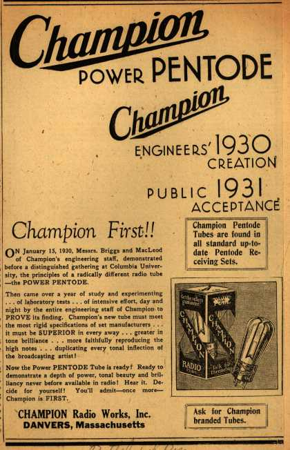 Champion Radio Tube's Radio Tubes – Champion Power Pentode (1931)