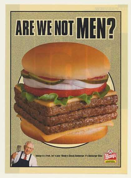 '99 Wendy's Restaurant Triple Burger Are We Not Men? (1999)