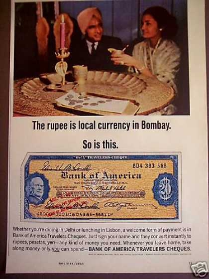 Bank of America Travelers Checks Bombay India (1965)
