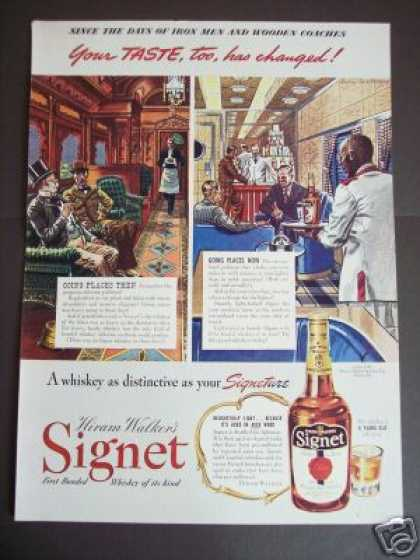 Pullman Train Car Art Signet Whiskey (1941)
