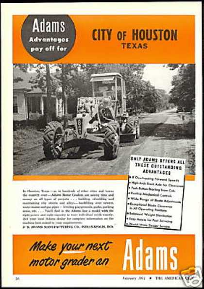 Houston Texas Adams Motor Grader Vintage Photo (1951)