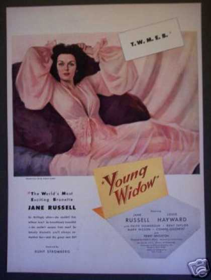 40's Jane Russell In Young Widow Movie Promo