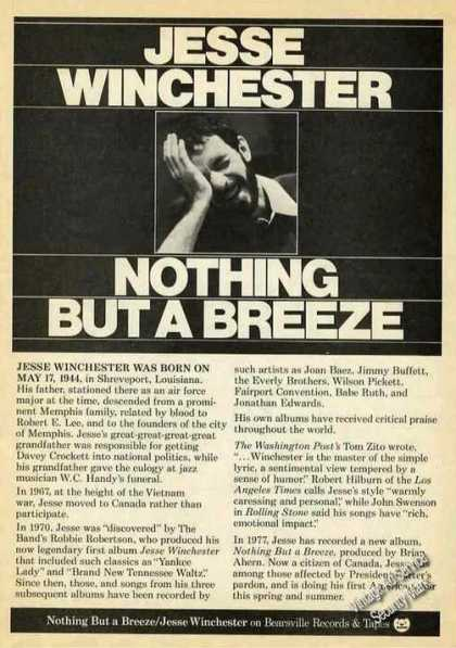 "Jesse Winchester Photo ""Nothing But a Breeze"" (1977)"