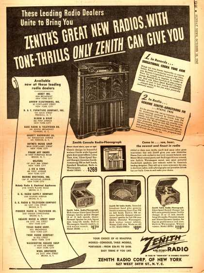 Zenith Radio Corp. of New York's Various – These Leading Radio Dealers Unite to Bring You Zenith's Great New Radios, With Tone-Thrills Only Zenith Can Give You (1947)