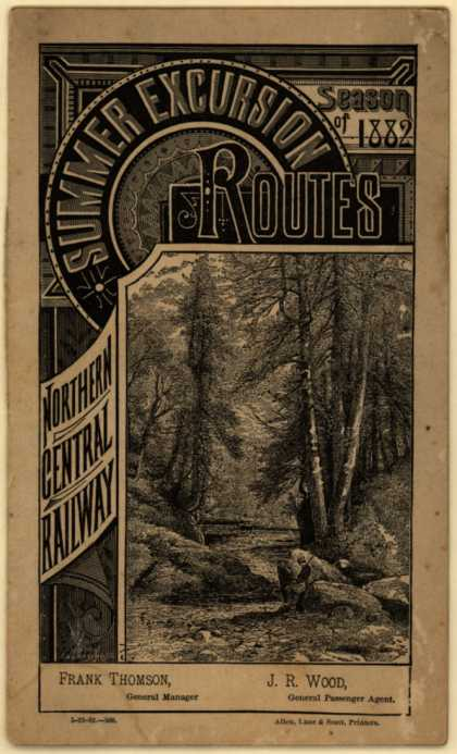 Northern Central Railway's Summer Excursion Routes – Summer Excursion Routes (1882)