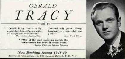 Gerald Tracy Photo Pianist Booking (1948)