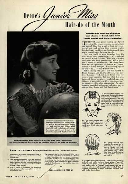 Procter & Gamble Co.'s Drene Shampoo – Drene's Junior Miss Hair-do of the Month (1944)